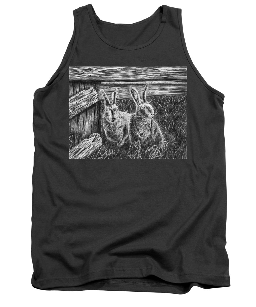 Hare Line Tank Top featuring the drawing Hare Line by Peter Piatt