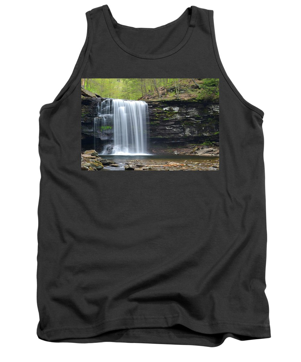 Phil Levee Tank Top featuring the photograph Harrison Wright Falls Spring by Philip LeVee