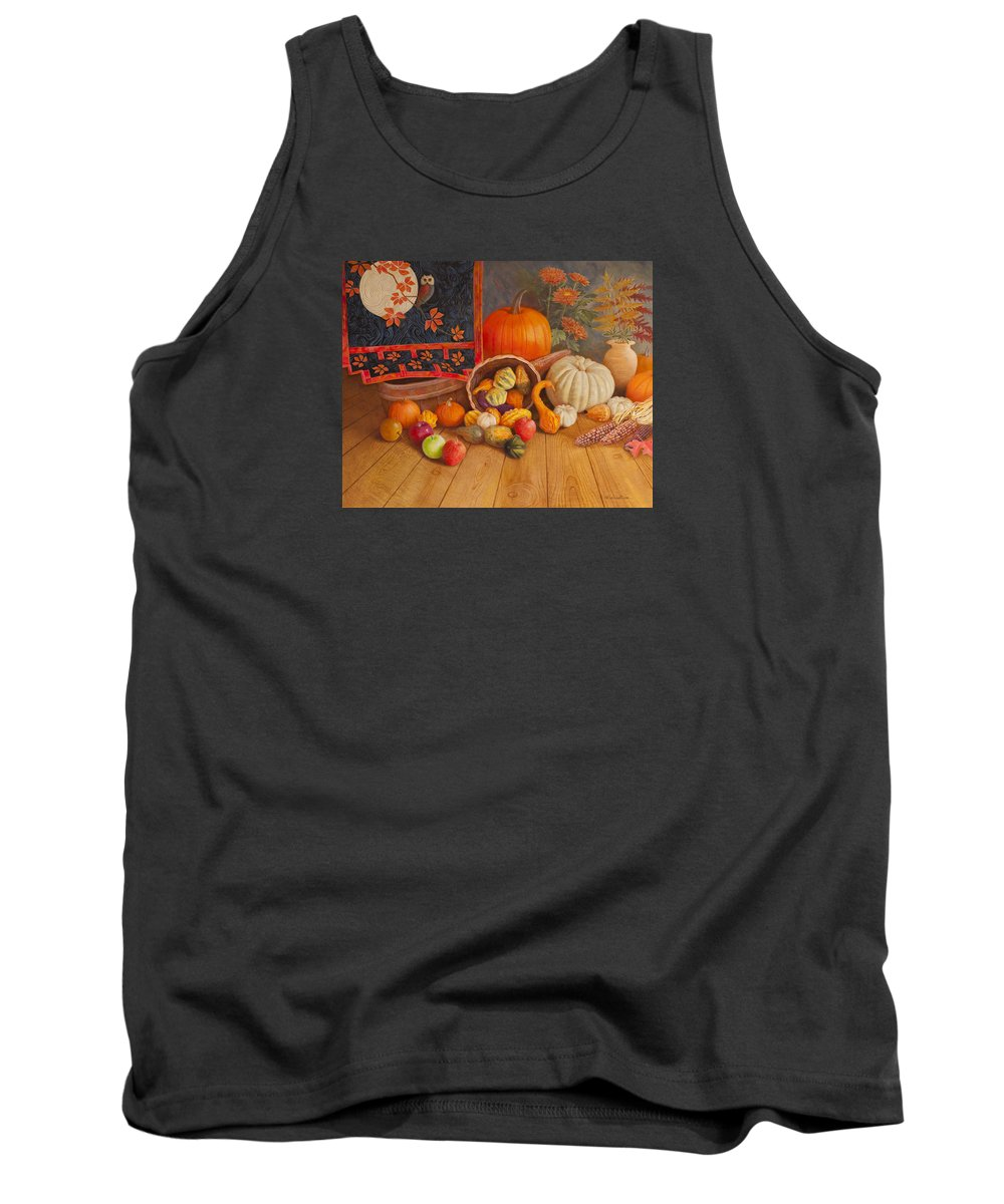 Thanksgiving Holiday Tank Top featuring the painting Harvest Bounty by Nancy Lee Moran