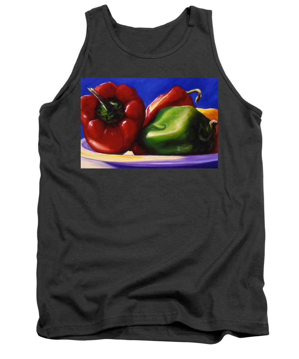 Still Life Tank Top featuring the painting Harvest Festival Peppers by Shannon Grissom