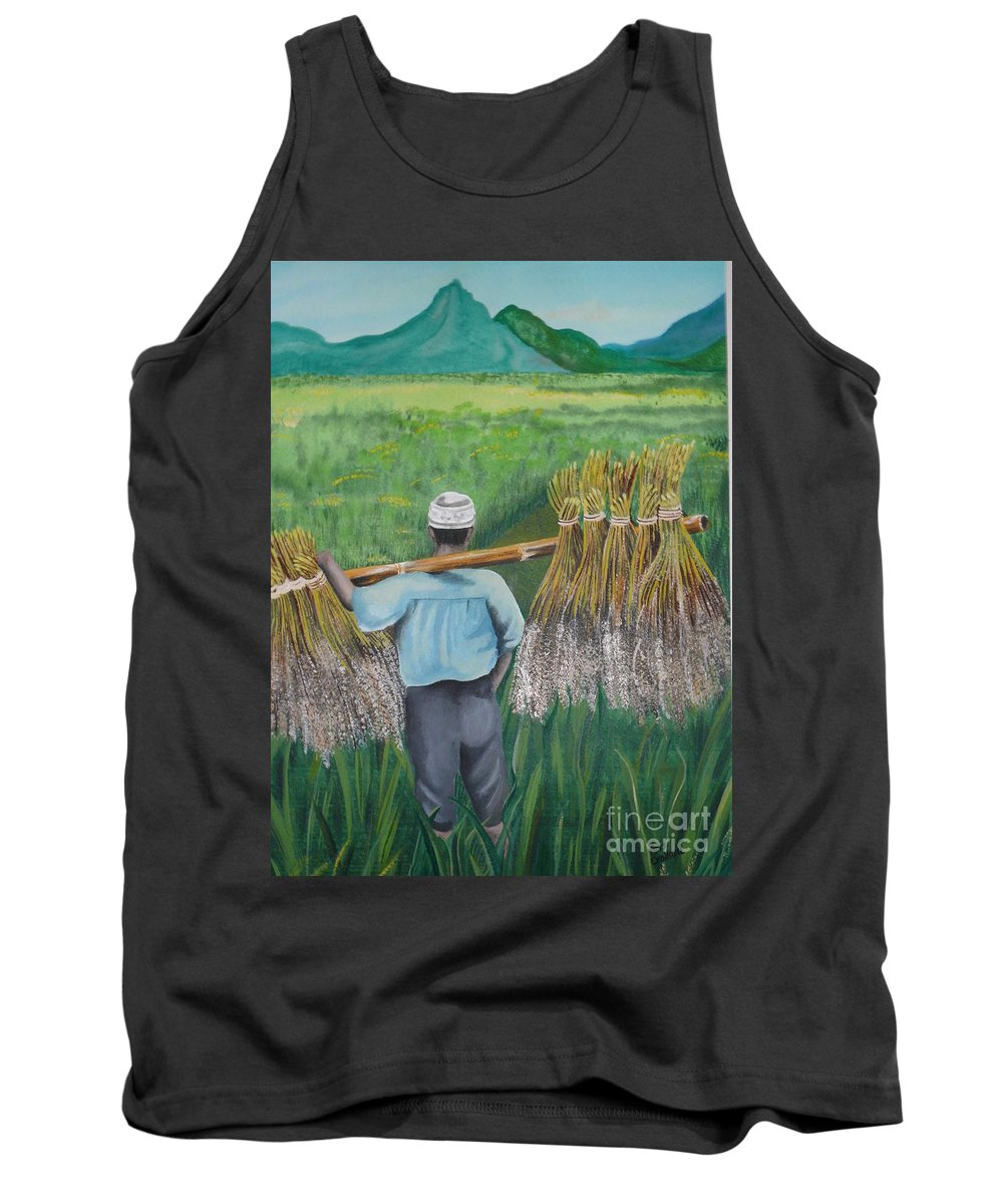 Landscape Tank Top featuring the painting Harvest by Kris Crollard