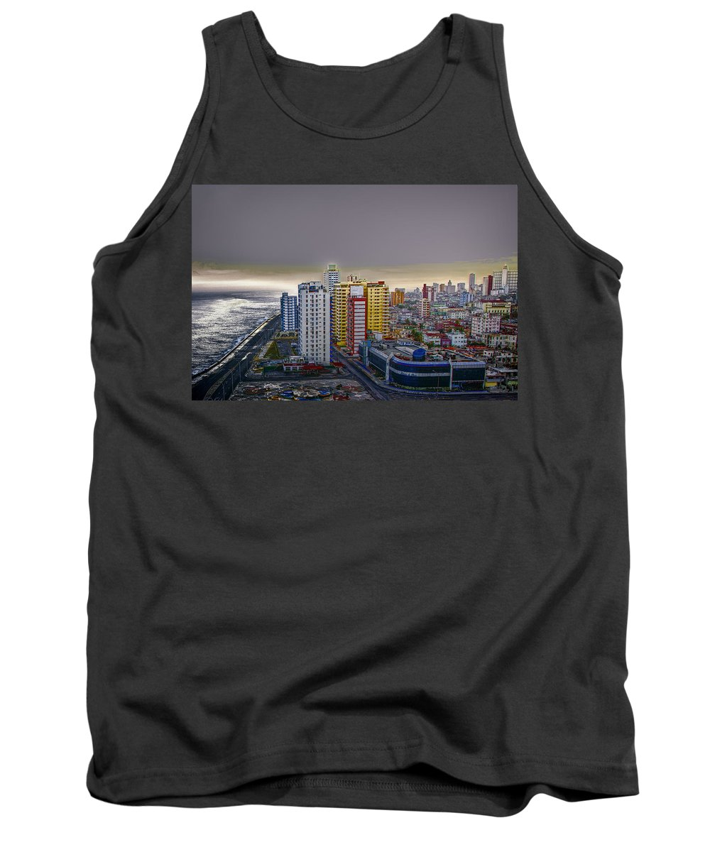 Cuba Tank Top featuring the photograph Havana Dawn by Claude LeTien