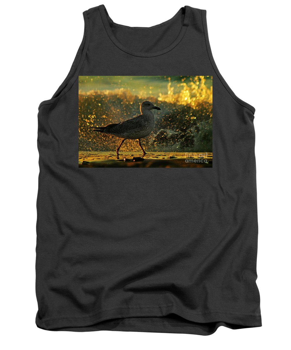 Seagull Tank Top featuring the photograph Have A Walk By Th Sea by Angel Ciesniarska