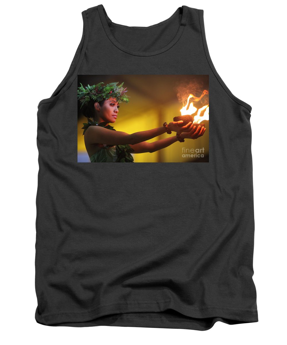 Fire Tank Top featuring the photograph Hawaiian Dancer And Firepots by Nadine Rippelmeyer