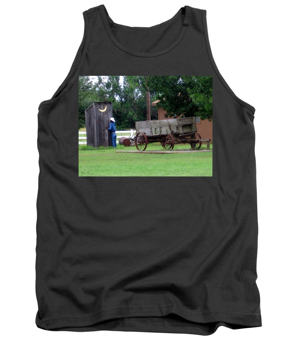 Out House Tank Top featuring the photograph He Had To Go by Amy Hosp