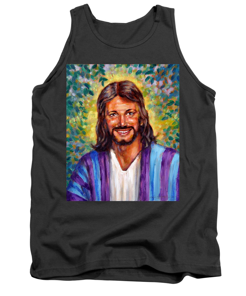 Jesus Smiling Tank Top featuring the painting He Smiles by John Lautermilch