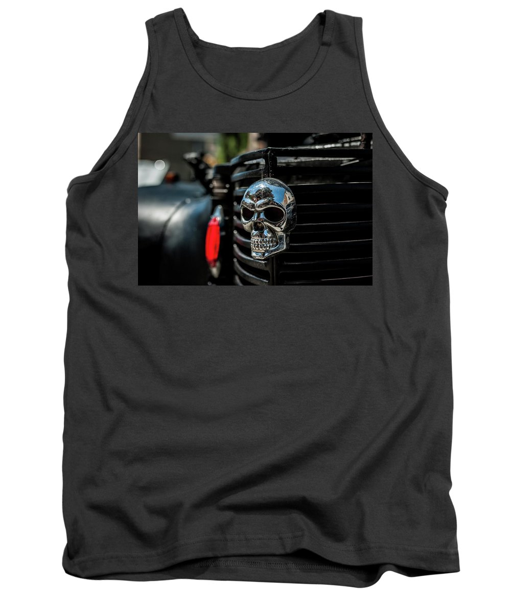 Cars Show Skull Car Show Grill Art Tank Top featuring the photograph Head Of Class by Steven Kasich