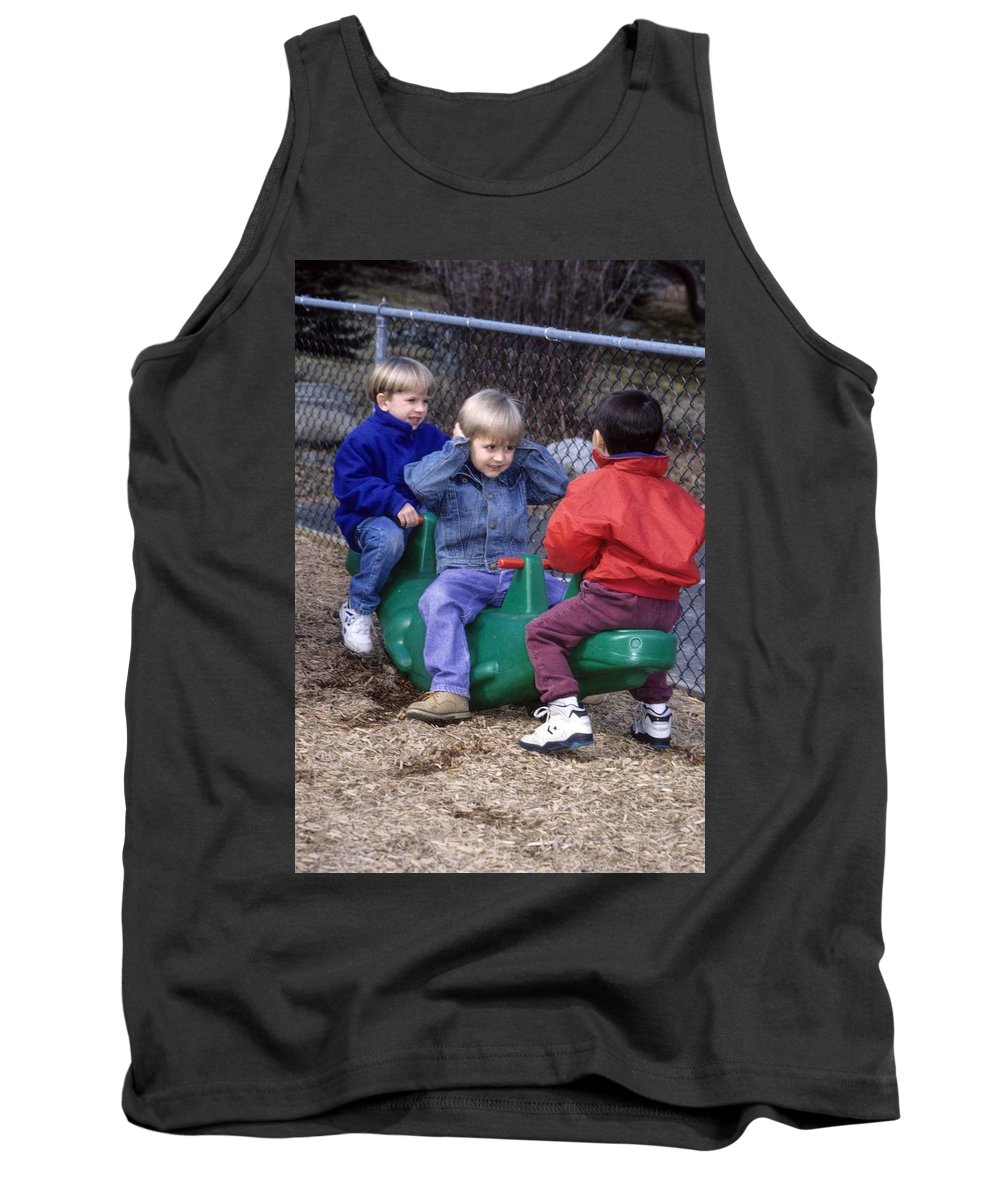 Children Tank Top featuring the photograph Hear No Evil See No Evil Speak No Evil by Laurie Paci