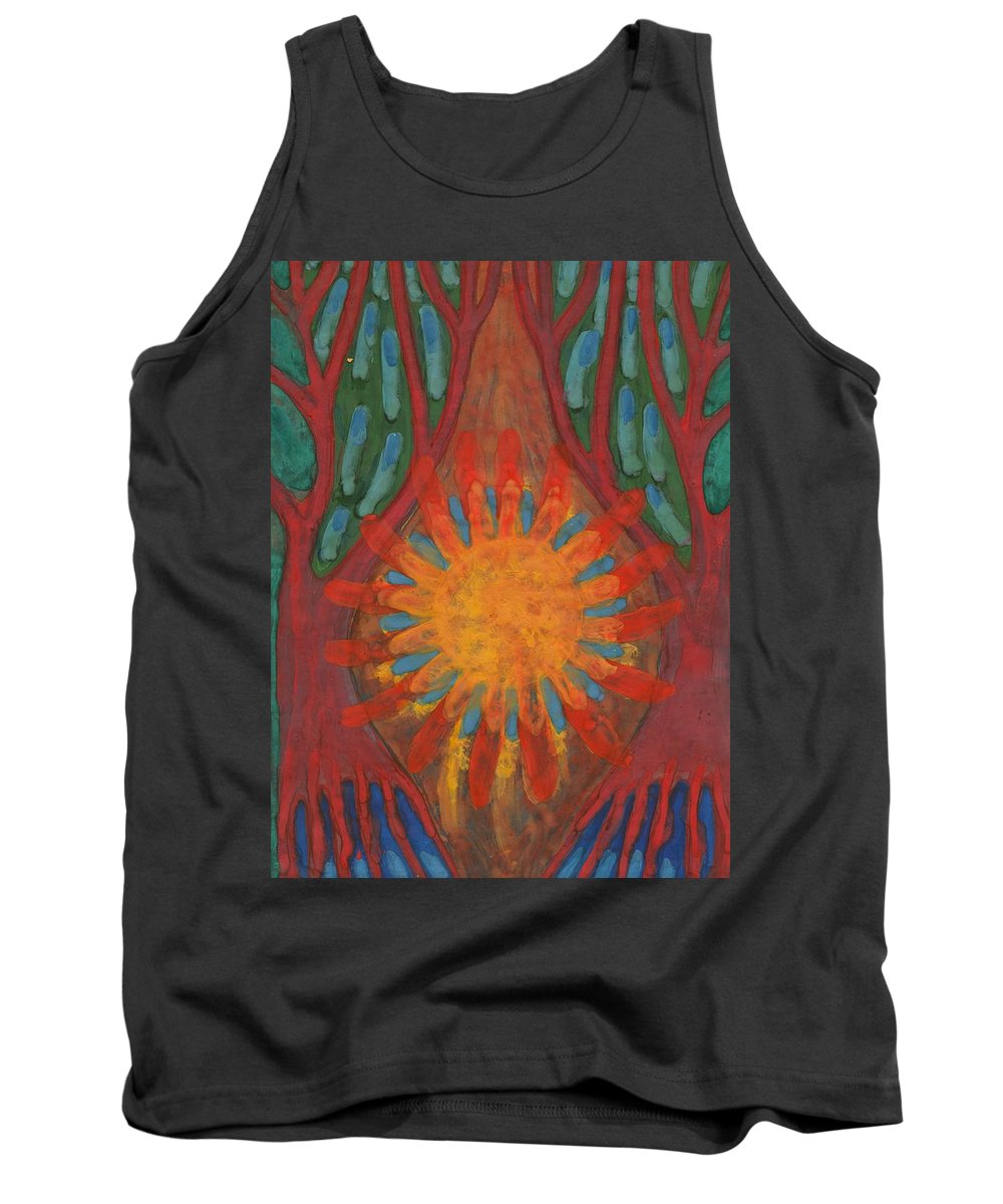 Colour Tank Top featuring the painting Heart Of Forest by Wojtek Kowalski