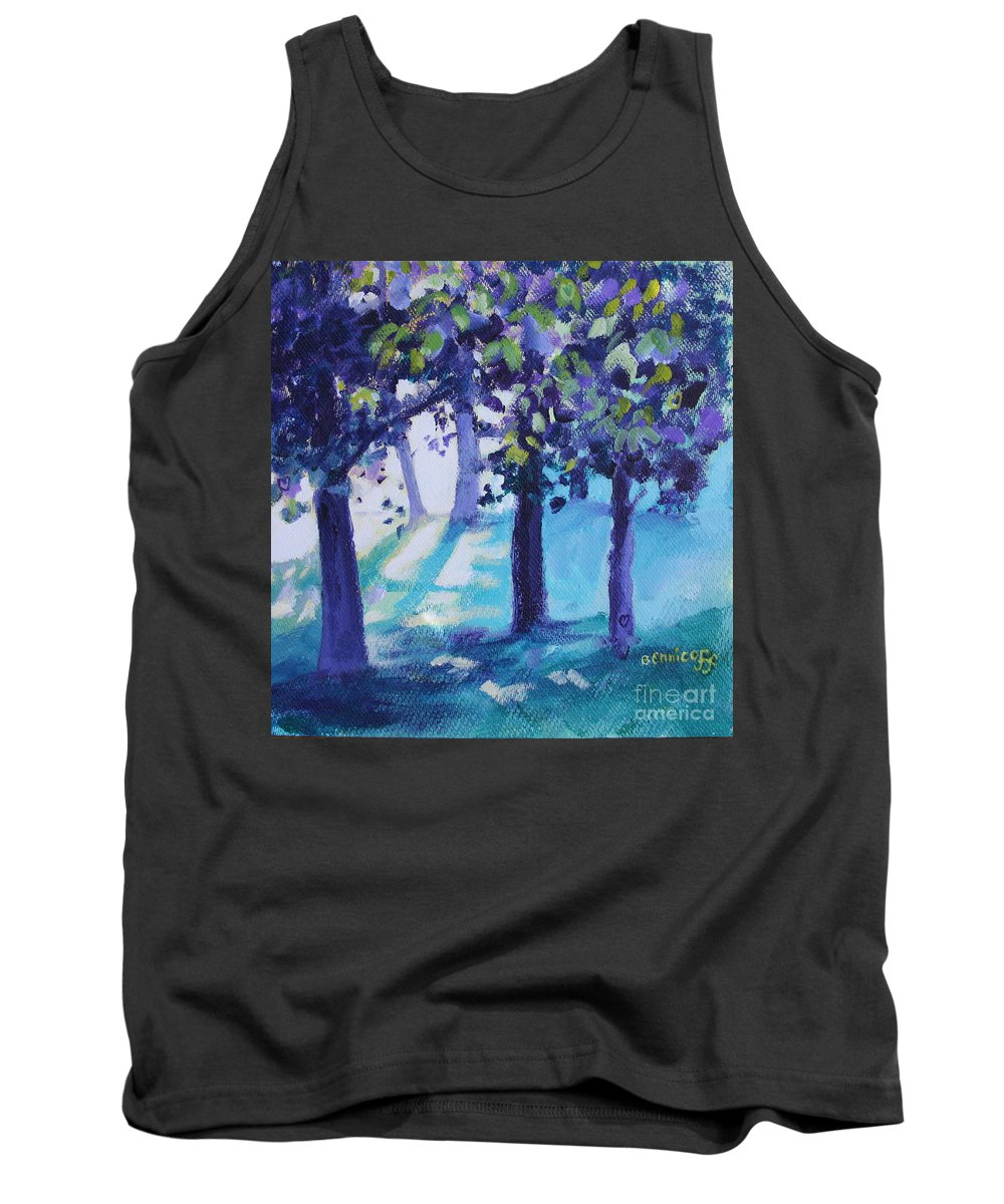 Expressionist Tank Top featuring the painting Heart Of The Forest by Jan Bennicoff