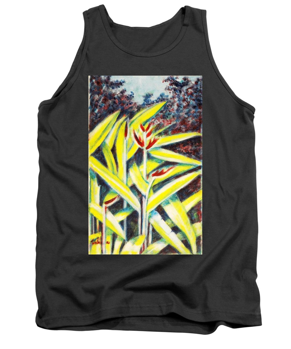 Heliconia Tank Top featuring the painting Heliconia 2 by Usha Shantharam