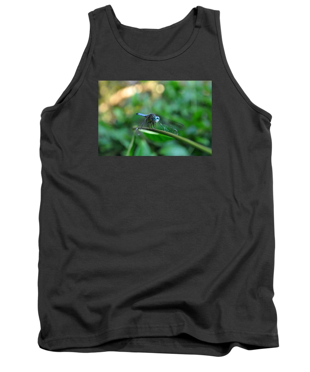 Dragonfly On Vine Tank Top featuring the photograph Hello There by Debra White