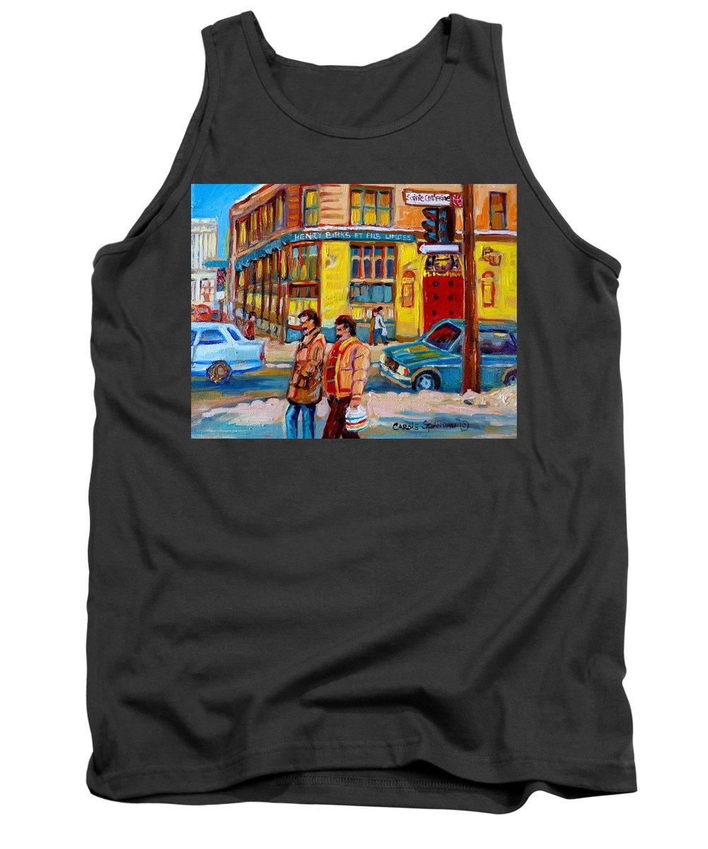 Downtown Montreal Tank Top featuring the painting Henry Birks On St Catherine Street by Carole Spandau