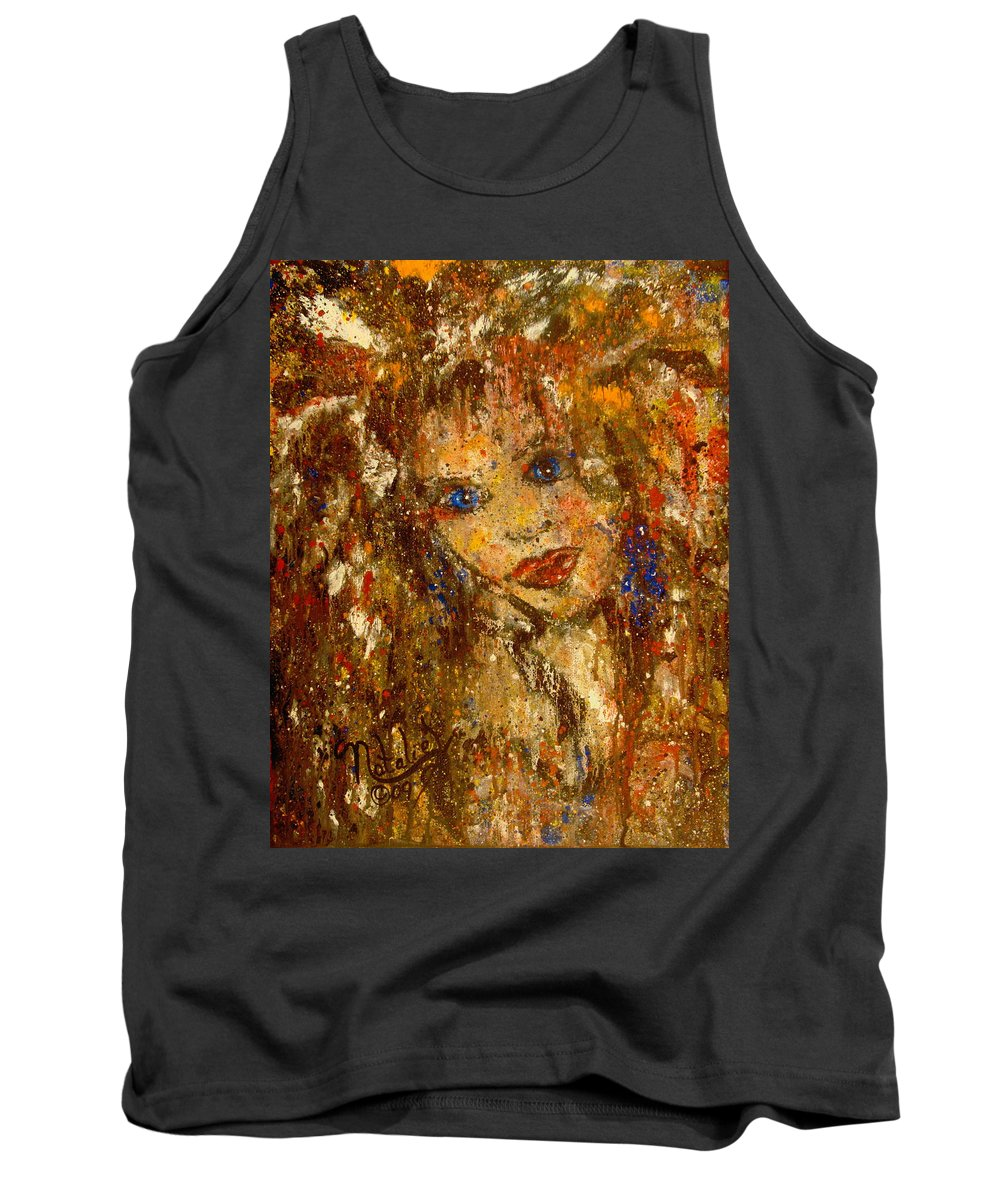 Female Tank Top featuring the painting Her Blue Eyes by Natalie Holland