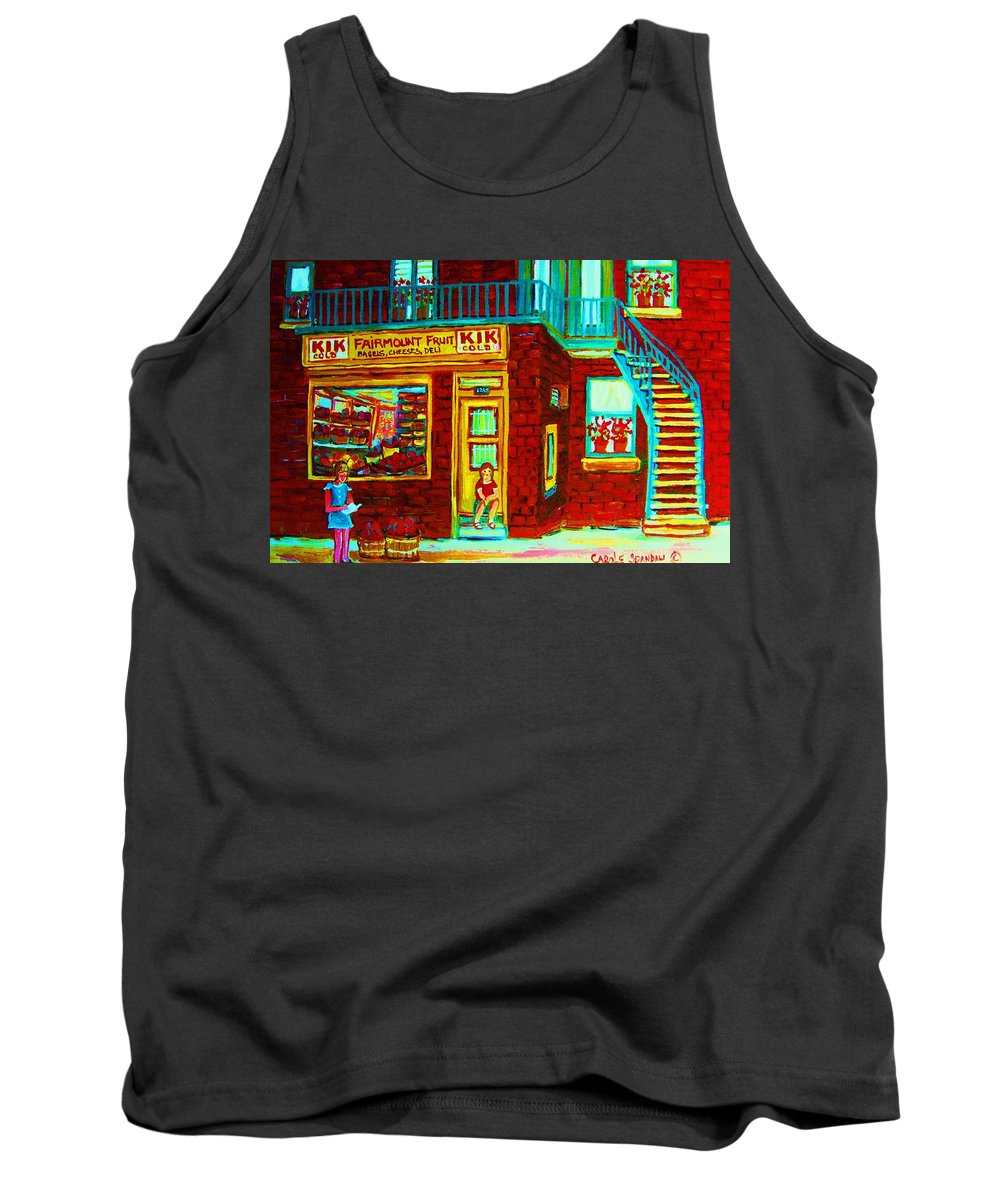 Fmontreal Tank Top featuring the painting Her Shopping List by Carole Spandau