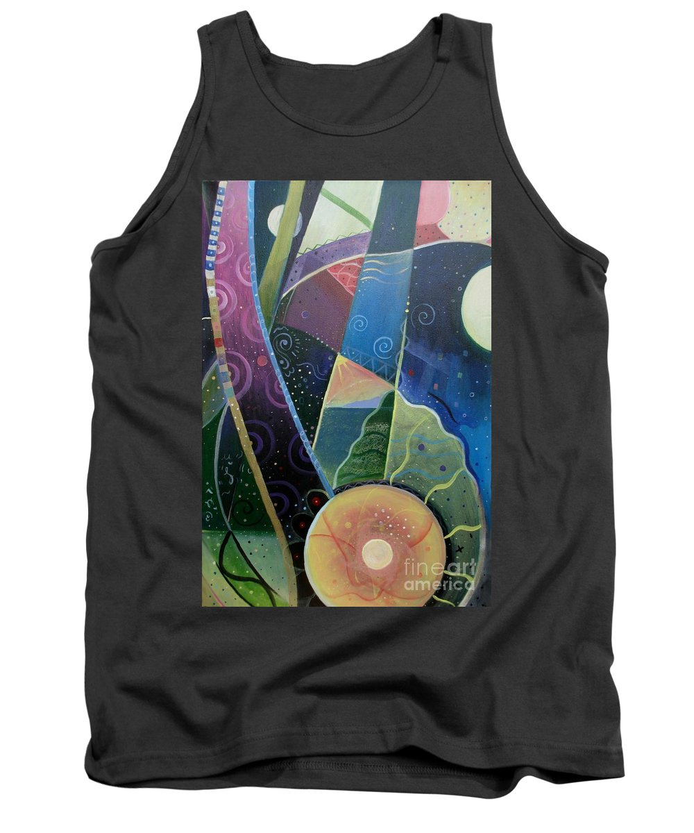 Multi-dimensional Tank Top featuring the painting Here And There by Helena Tiainen