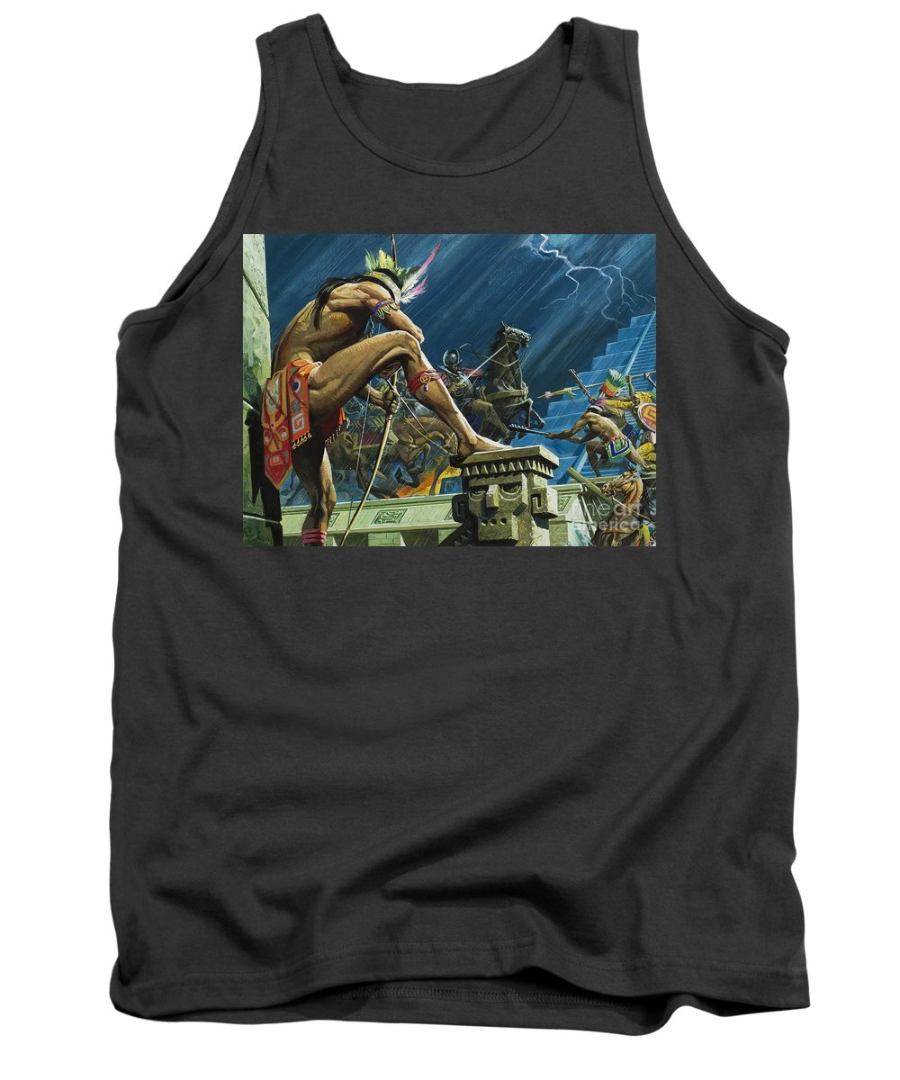 Moctezuma; Tenochtitlan; Mexico; Conquest; Conquistador; Spanish; Explorer; Hernan; Lightning; Storm; Night; Spaniards; Soldier; Armour; Horse; Headdress; Stair; Step; Feather; Sword; Bow And Arrow; Conqueror; Children's Illustration; Temple; Latin American; Aztecs Tank Top featuring the painting Hernando Cortes by Severino Baraldi