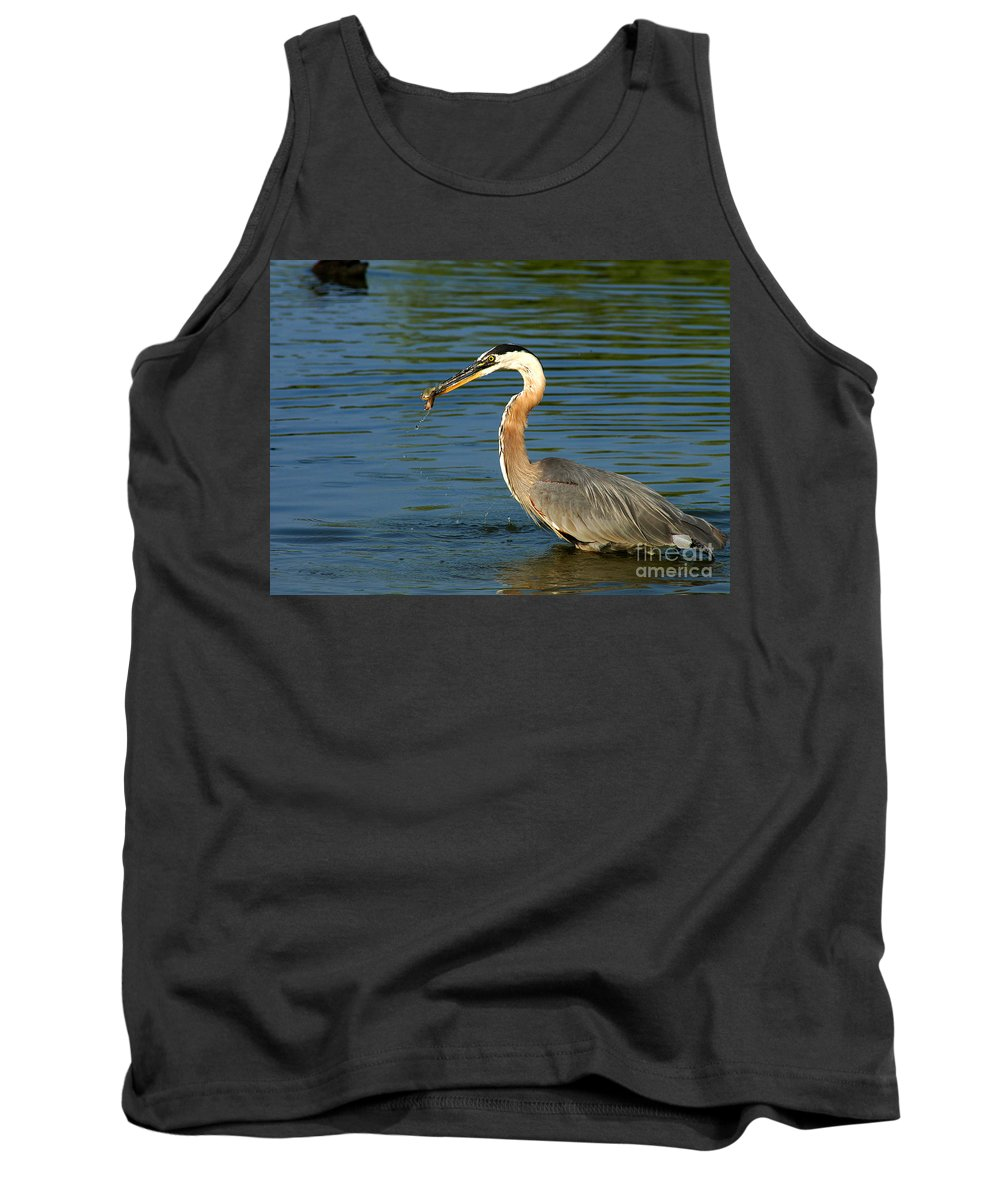Clay Tank Top featuring the photograph Herons Catch by Clayton Bruster