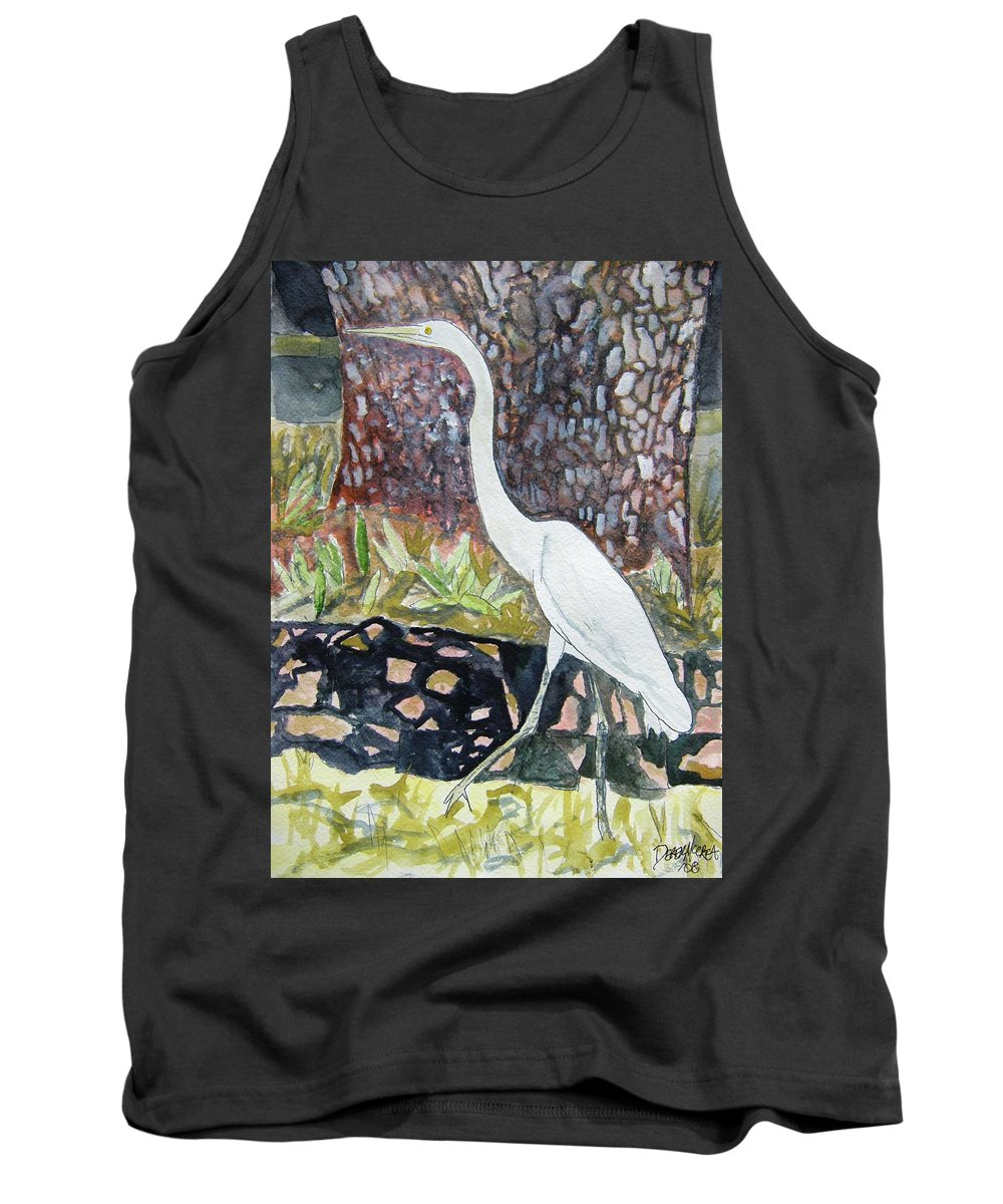Bird Tank Top featuring the painting Herron by Derek Mccrea