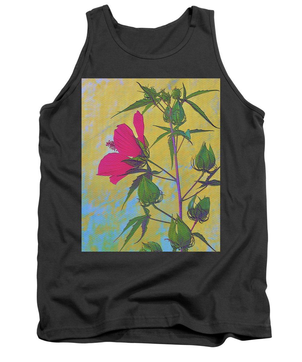 Hibiscus Tank Top featuring the photograph Hibiscus On Brick by Sally Falkenhagen