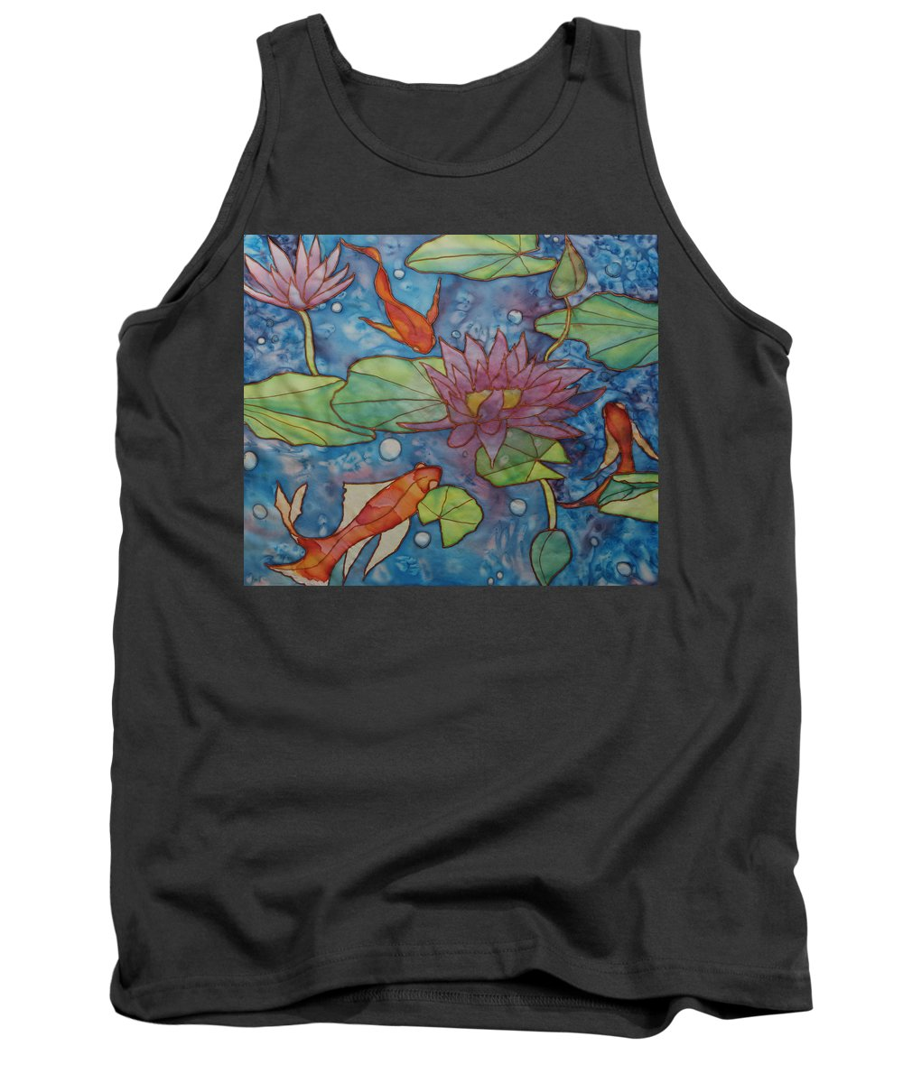 Gold Fish Tank Top featuring the painting Hide And Seek by Ruth Kamenev