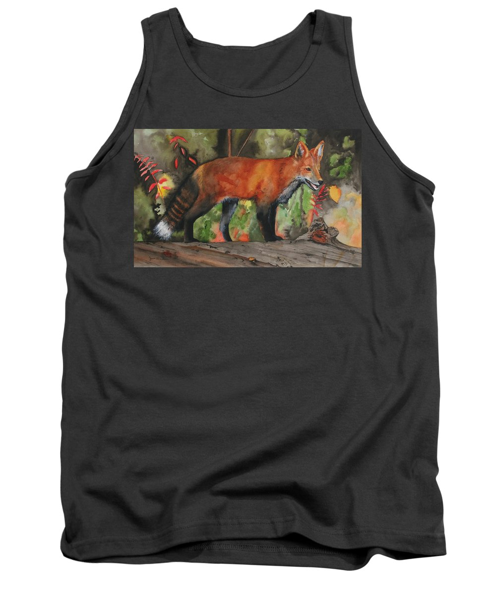 Fox Tank Top featuring the painting Hiding In Plain Sight by Jean Blackmer