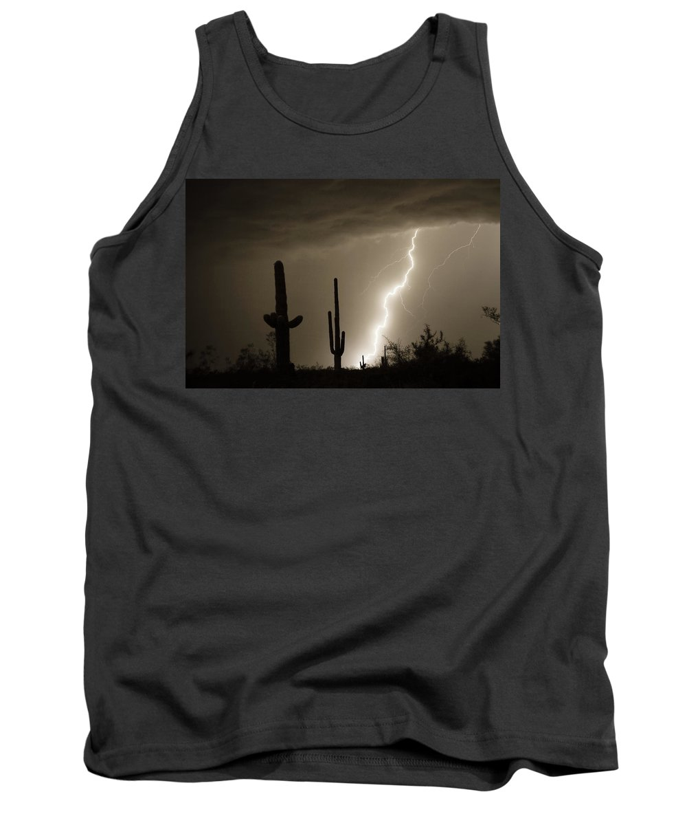 Lightning Tank Top featuring the photograph High Southwest Desert Lightning Strike by James BO Insogna