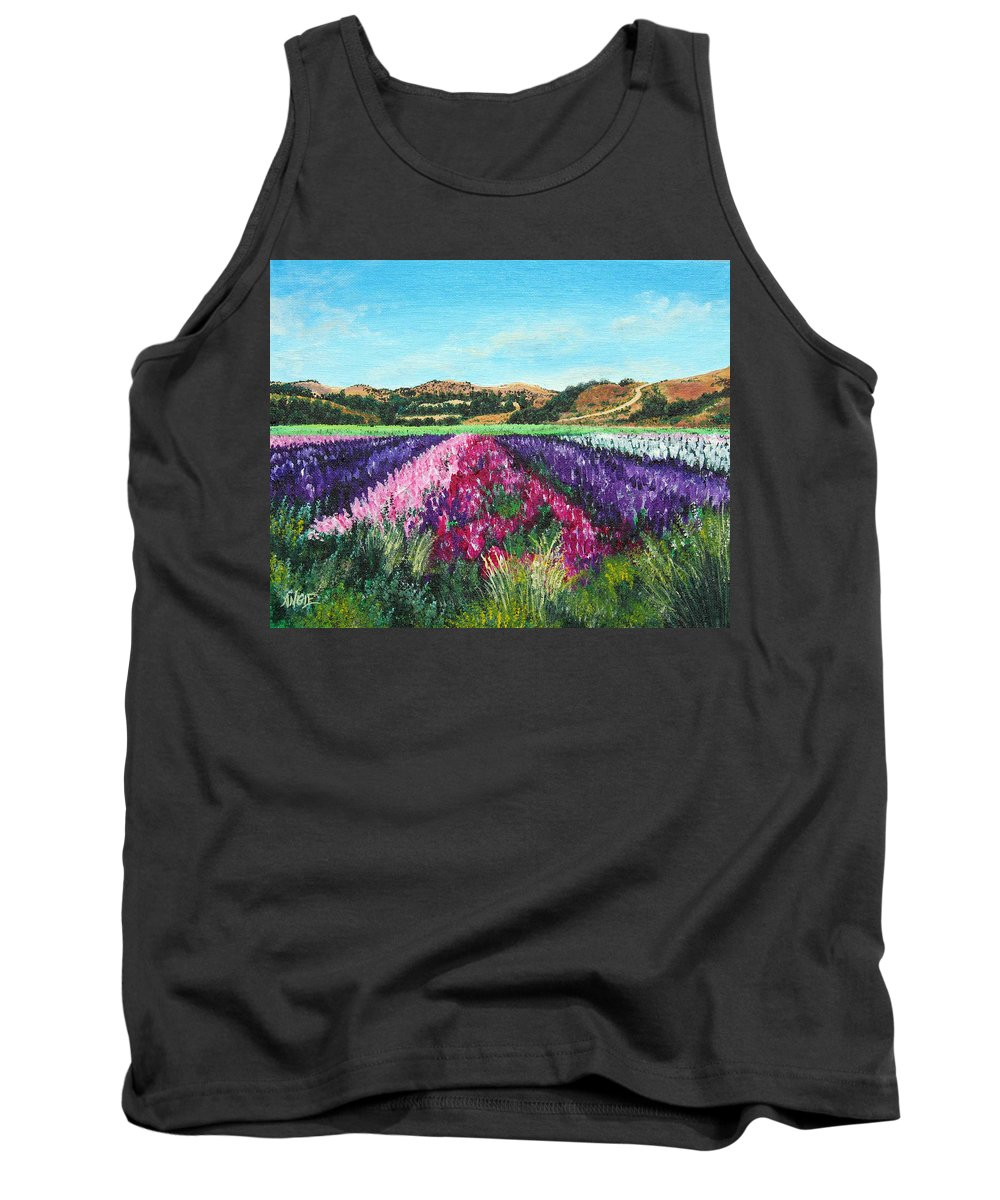 Highway 246 Tank Top featuring the painting Highway 246 Flowers 3 by Angie Hamlin