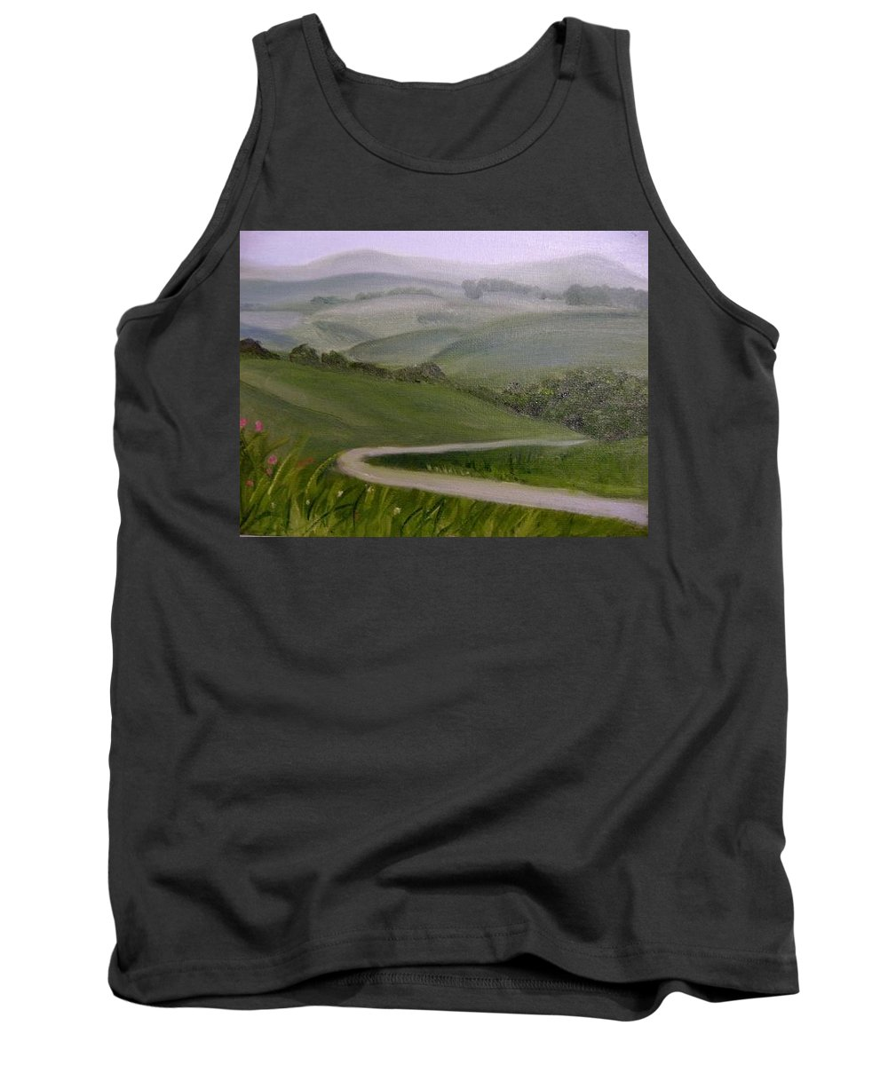 Pathway Tank Top featuring the painting Highway Into The Hills by Toni Berry