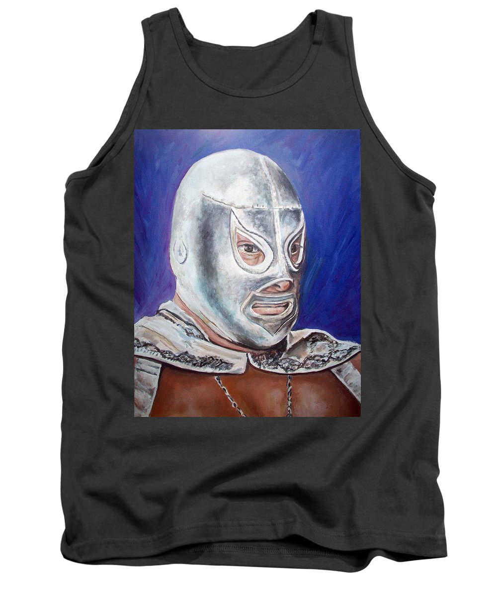 Wrestler Tank Top featuring the painting Hijo Del Santo by Nancy Almazan