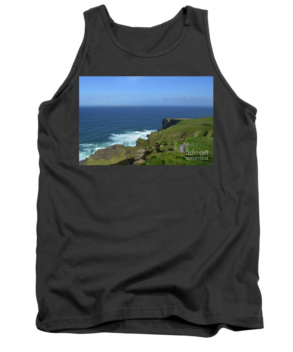 Cliffs-of-moher Tank Top featuring the photograph Hiking Path Along The Top Of The Cliff's Of Moher by DejaVu Designs