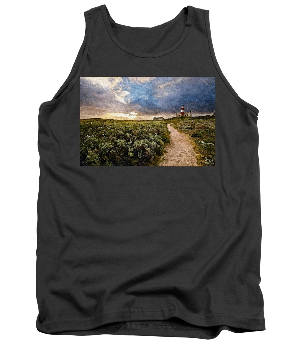 Announcement Tank Top featuring the photograph Hill Road To A Lighthouse H B by Gert J Rheeders