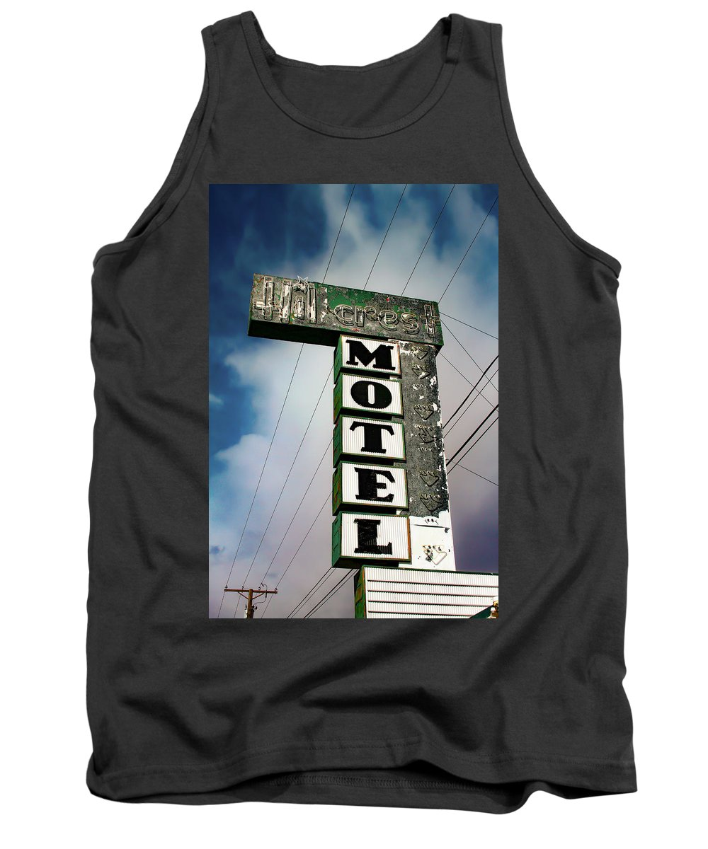 Hillcrest Motel Tank Top featuring the photograph Hillcrest Motel by Bonnie Follett