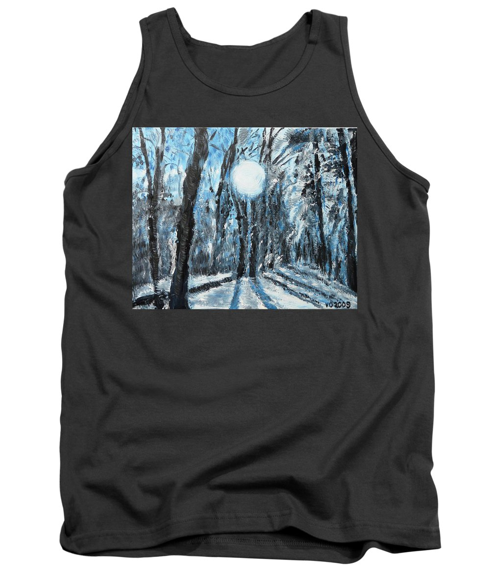 Landscape Tank Top featuring the painting Hochleite In January by Valerie Ornstein