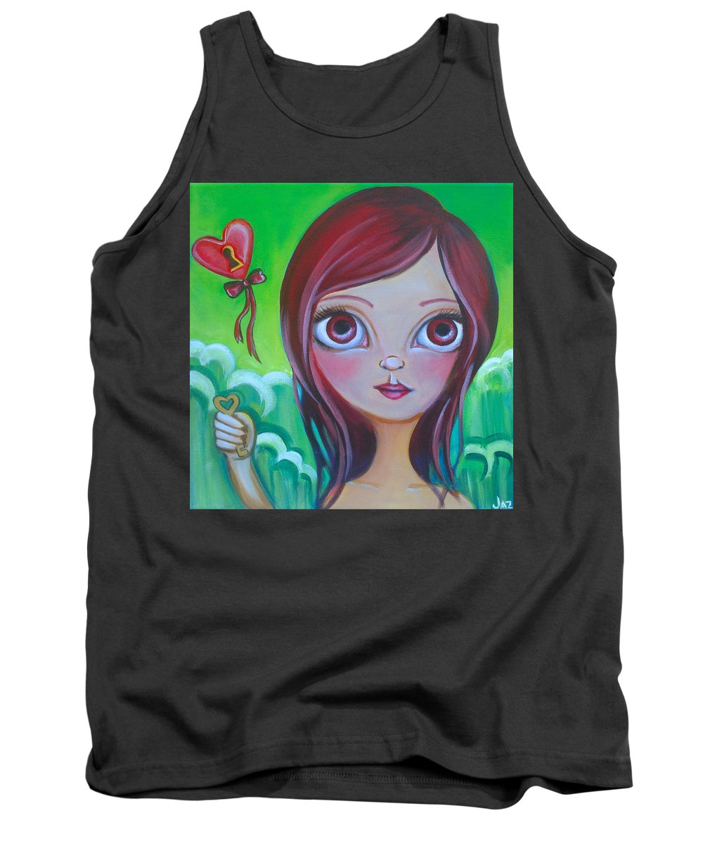 Pop Tank Top featuring the painting Holding The Key by Jaz Higgins