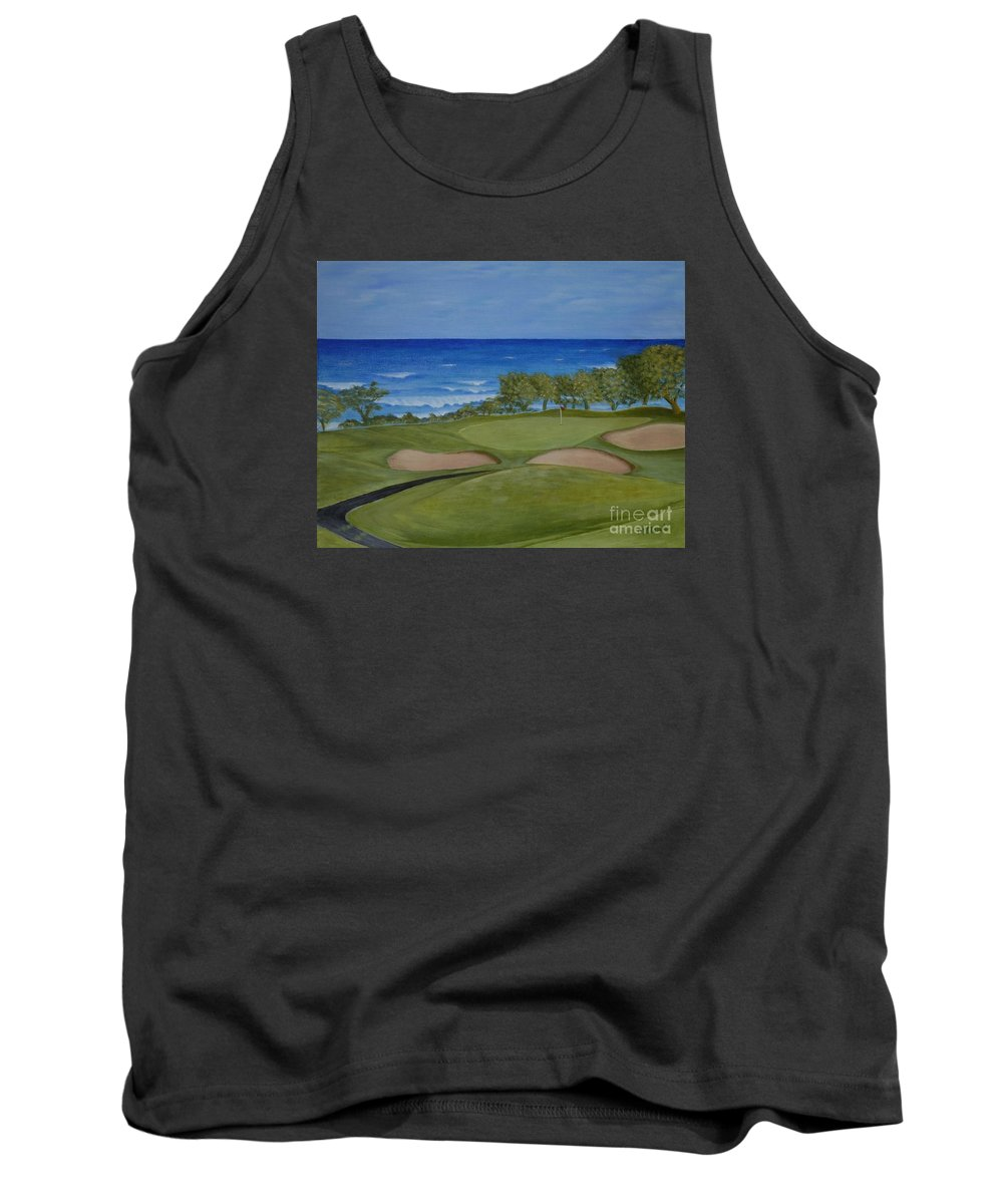 Golf Tank Top featuring the painting Hole 17 - Wailua Golf Course On Kauai by Mary Deal
