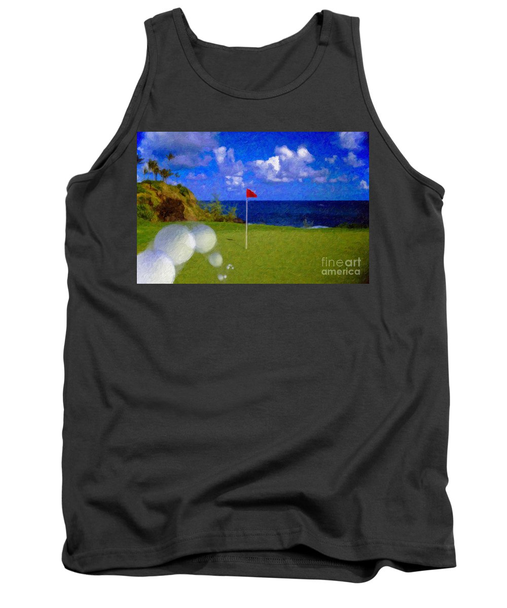Hole In One 18th Green Ball Flag Green Ocean Palm Trees Tank Top featuring the photograph Fantastic 18th Green by David Zanzinger