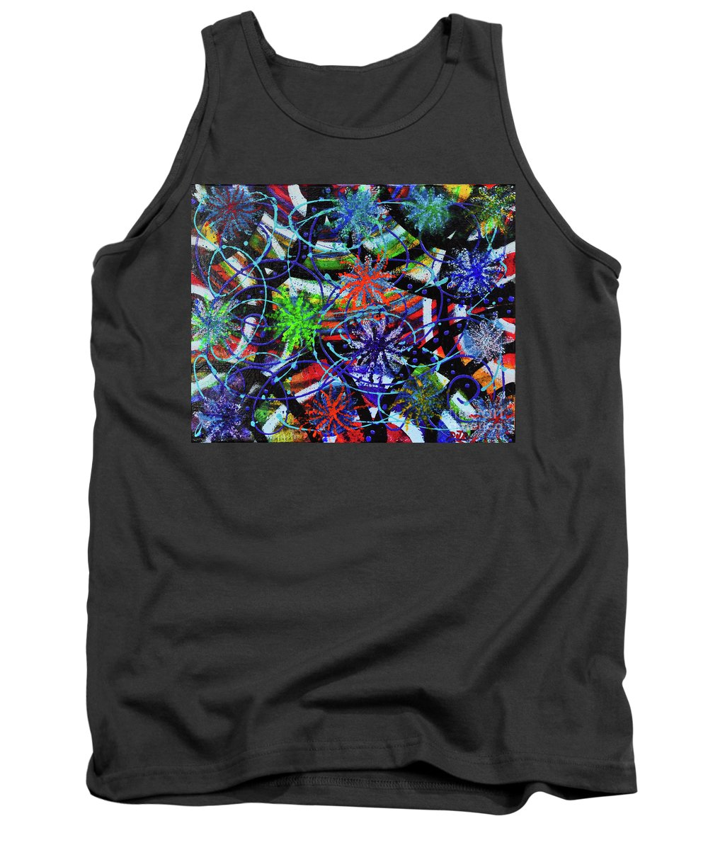 4th Of July Tank Top featuring the painting Holiday Abstract by Davids Digits