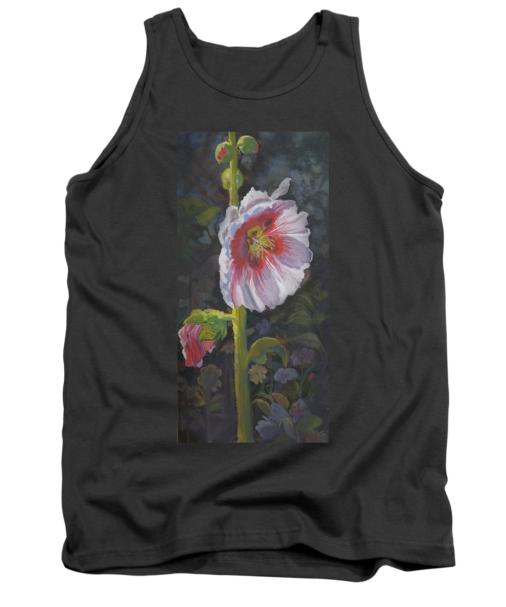 Flower Tank Top featuring the painting Hollyhock by Heather Coen