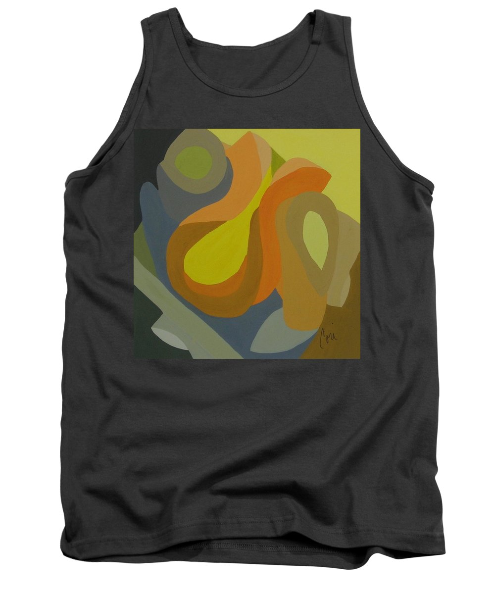 Abstract Tank Top featuring the painting Homage To The 70's by Cori Solomon