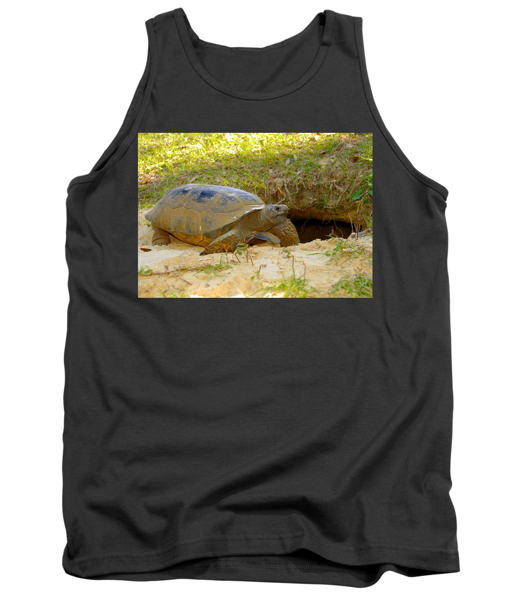 Gopher Tortoise Tank Top featuring the photograph Home Sweet Burrow by David Lee Thompson