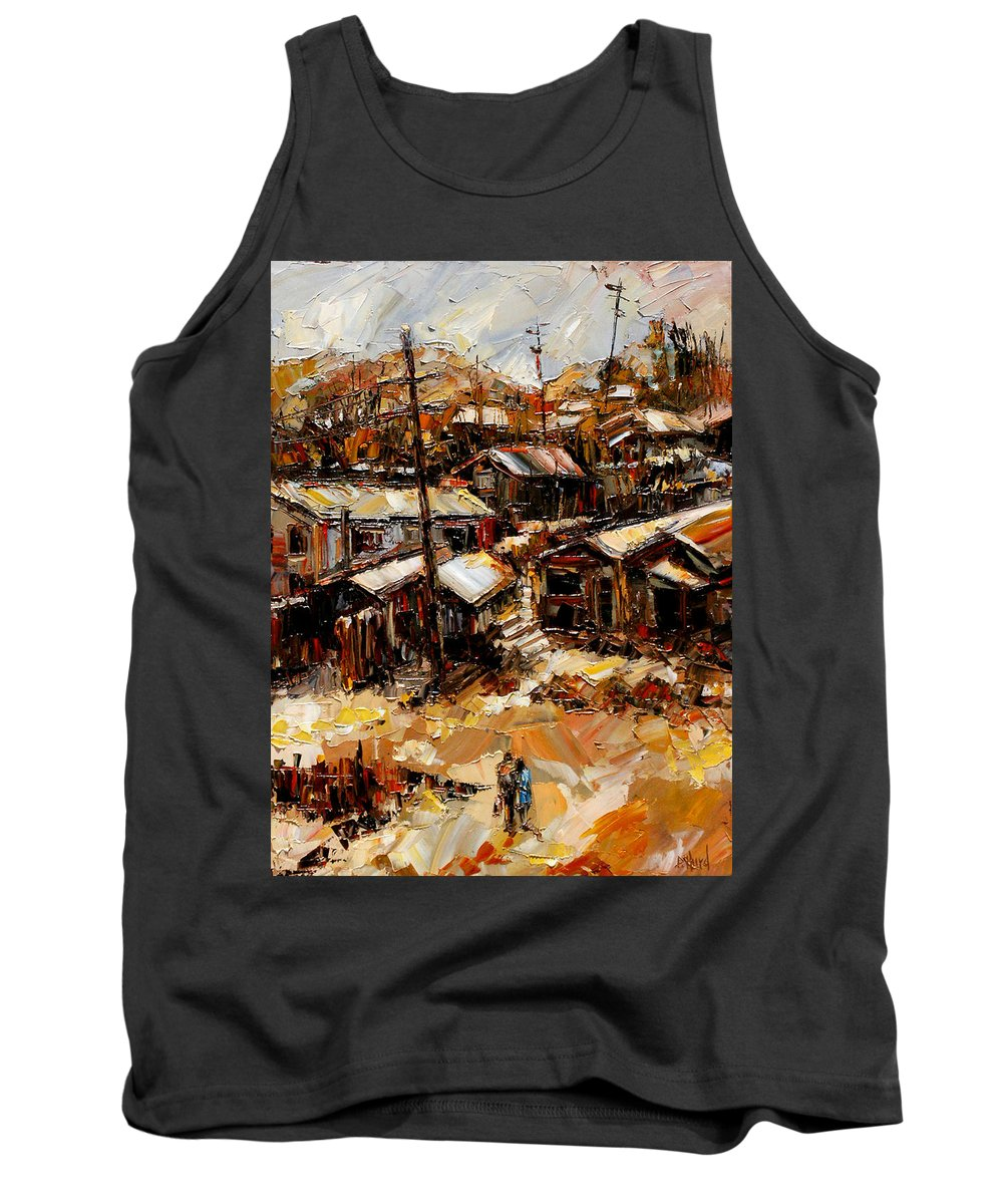 Chaves Revine Tank Top featuring the painting Homes In The Hills Chaves Revine by Debra Hurd