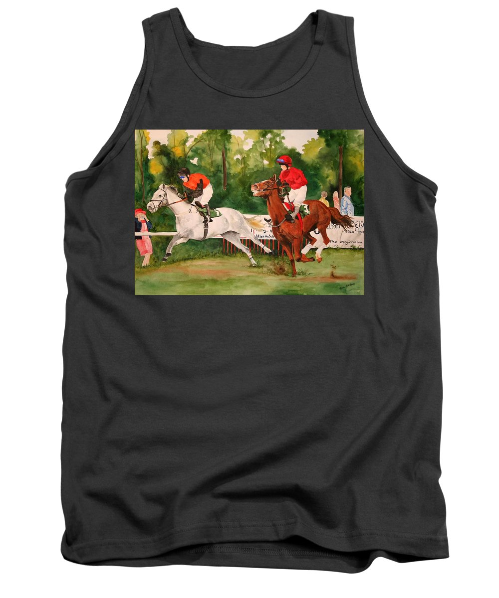 Racing Tank Top featuring the painting Homestretch by Jean Blackmer