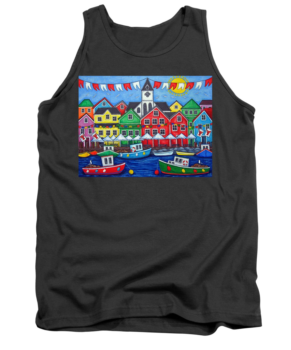 Boats Canada Colorful Docks Festival Fishing Flags Green Harbor Harbour Tank Top featuring the painting Hometown Festival by Lisa Lorenz