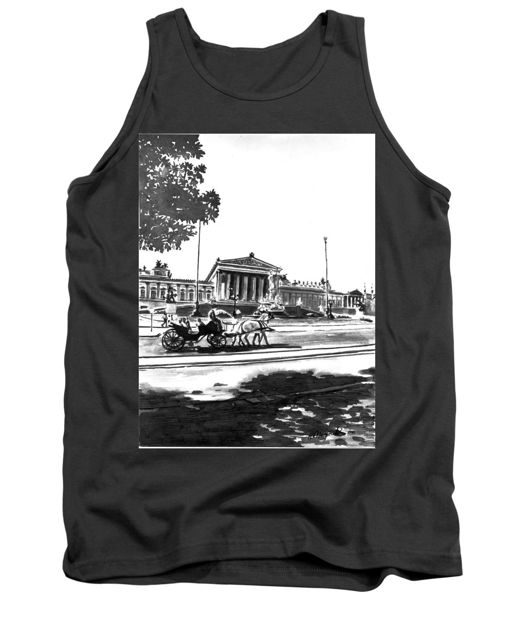 Vienna Tank Top featuring the painting Horse And Parliament by Johannes Margreiter