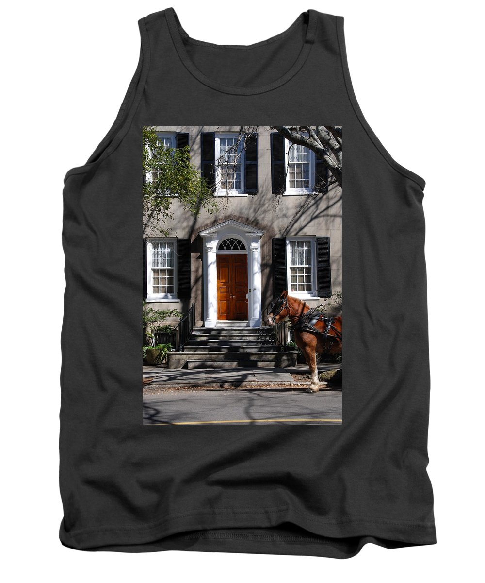 Photography Tank Top featuring the photograph Horse Carriage In Charleston by Susanne Van Hulst