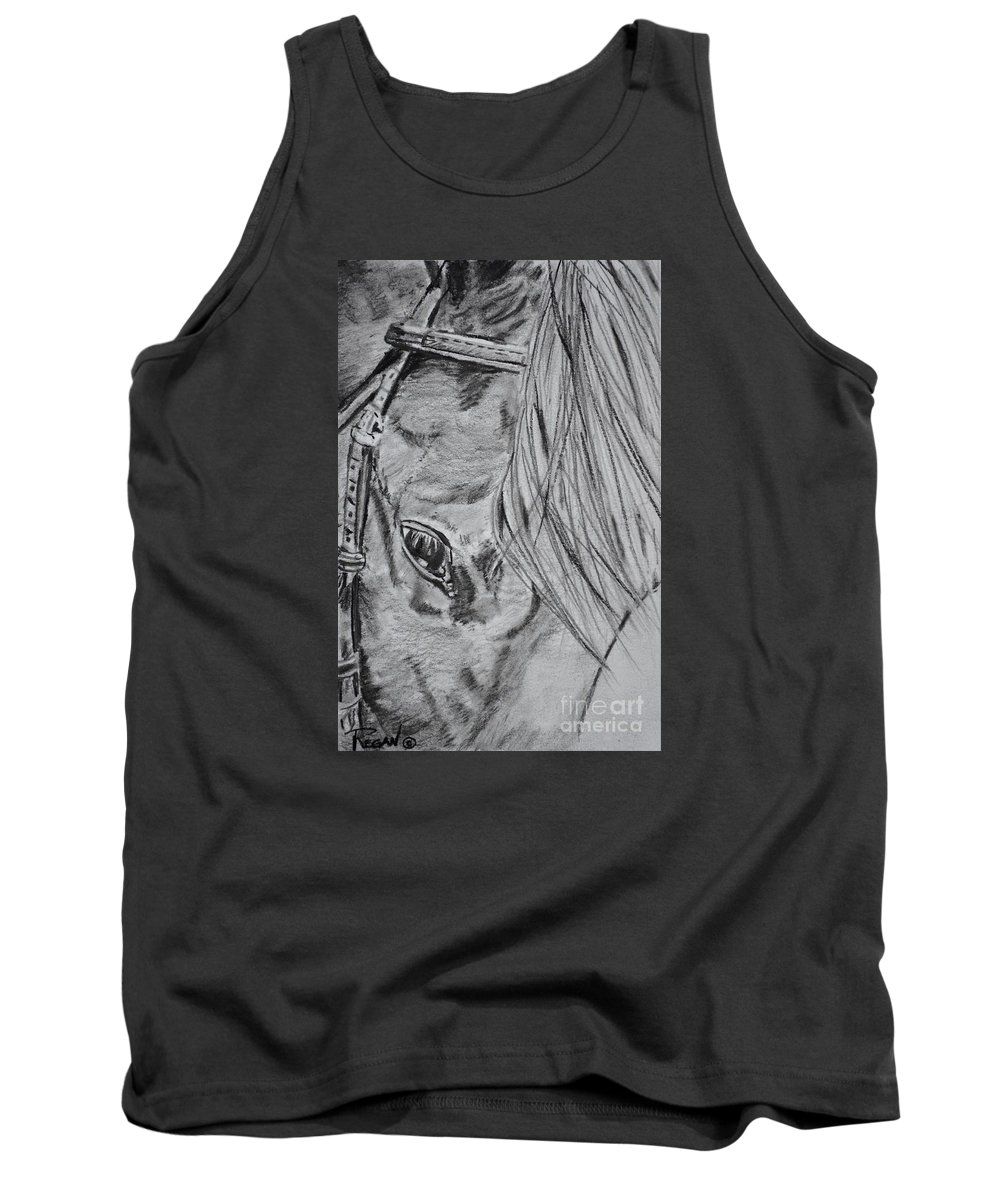 Horse Head Tank Top featuring the drawing Horse by Regan J Smith
