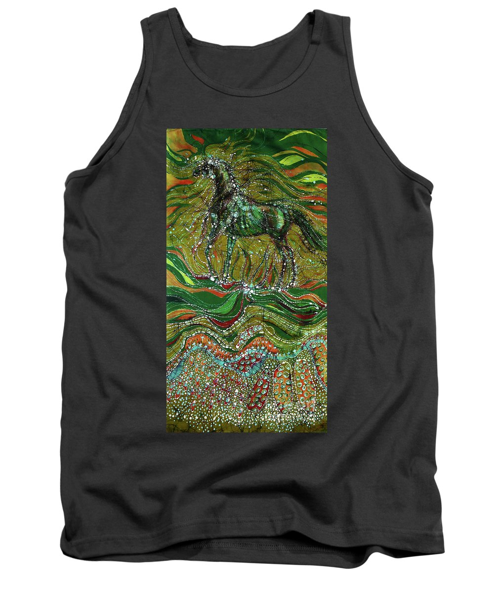 Horse Tank Top featuring the tapestry - textile Horse Rises From The Earth by Carol Law Conklin