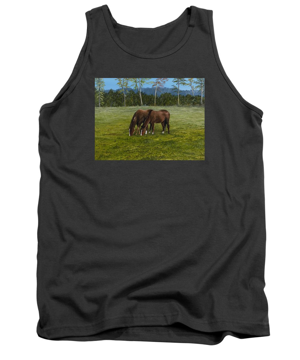 Sorrell Horses Paintings Tank Top featuring the painting Horses Of Romance by Mary Ann King