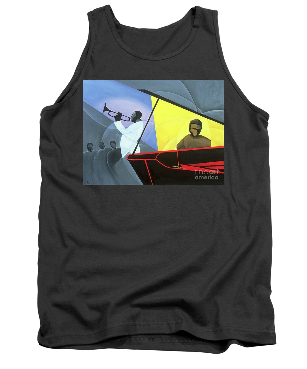 Hot And Cool Jazz Tank Top featuring the painting Hot And Cool Jazz by Kaaria Mucherera